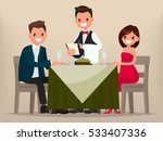young couple having dinner in a ... | Shutterstock .eps vector #533407336