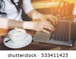 coffee cup and hand of business ... | Shutterstock . vector #533411425