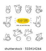play time. little cat and dog... | Shutterstock .eps vector #533414266