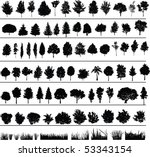 Set Of Silhouettes Of Trees ...