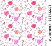 vector seamless pattern. hearts ... | Shutterstock .eps vector #533432275