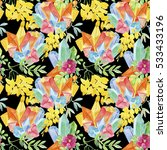 seamless pattern with flowers... | Shutterstock . vector #533433196