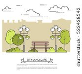 city landscape with bench and...   Shutterstock .eps vector #533438542