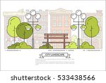 city landscape with bench ... | Shutterstock .eps vector #533438566