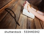 young praying womans hands with ... | Shutterstock . vector #533440342