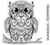 tribal abstract owl design | Shutterstock .eps vector #533448982
