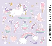 unicorn magic set with glitter. ... | Shutterstock .eps vector #533464666