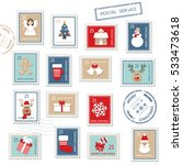 Christmas Postal Stamps Set...