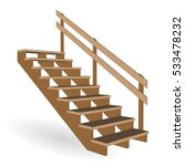 Staircase 3d Wooden To The...
