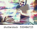 club dj playing mixing music on ... | Shutterstock . vector #533486725