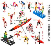 sport icon isometric people set ... | Shutterstock .eps vector #533488732