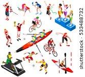 sport player icon isometric set ... | Shutterstock .eps vector #533488732