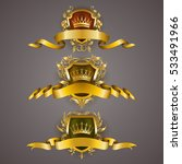 set of golden royal shields... | Shutterstock .eps vector #533491966