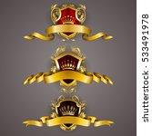 set of golden royal shields... | Shutterstock .eps vector #533491978