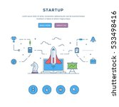 startup. flat line business...   Shutterstock .eps vector #533498416