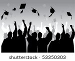 graduation in silhouette in grey | Shutterstock .eps vector #53350303