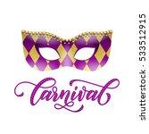 carnival text. mask of golden... | Shutterstock .eps vector #533512915