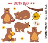 set of isolated brown bear  ... | Shutterstock .eps vector #533531566