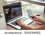 close up of woman hands using...   Shutterstock . vector #533534002