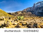 Small photo of Stunning view of Baranco Camp (3900m amsl) on route to the summit of Mount Kilimanjaro, Kibo with Uhuru Peak at 5895m amsl in the background.