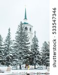 Small photo of a stone church of the Savor in winter