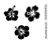 hibiscus silhouette | Shutterstock .eps vector #533550952