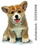 Stock photo corgi puppy watercolor painting 533554048