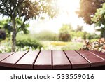 empty wood table with blurred...   Shutterstock . vector #533559016