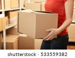 woman holding box at warehouse | Shutterstock . vector #533559382