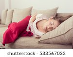 young woman lying on a bed... | Shutterstock . vector #533567032