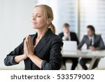 young businesswoman meditating  ... | Shutterstock . vector #533579002
