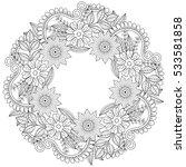 floral doodles wreath in... | Shutterstock .eps vector #533581858
