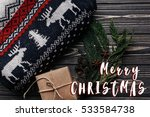 merry christmas text sign on ... | Shutterstock . vector #533584738