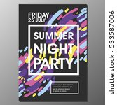 summer night party vector flyer ... | Shutterstock .eps vector #533587006