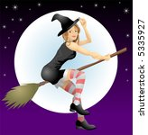 Beautiful Halloween witch.  An illustration of a beautiful Halloween with riding her broomstick - stock vector