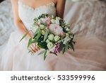 bride in dress sitting on bed... | Shutterstock . vector #533599996