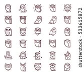 Owl Outline Icons Collection....