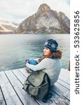woman traveler with a backpack... | Shutterstock . vector #533625856