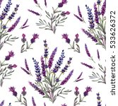 seamless pattern with lavender... | Shutterstock . vector #533626372