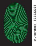 green fingerprint on a black...   Shutterstock .eps vector #533633395