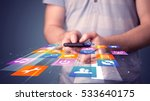 man holding smart phone with... | Shutterstock . vector #533640175