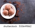 plate of chocolate ice cream... | Shutterstock . vector #533649862