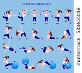 fitness exercises with cartoon... | Shutterstock .eps vector #533655016