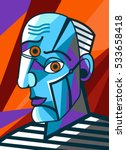 cubist great painter face... | Shutterstock .eps vector #533658418