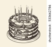 happy birthday. cake with... | Shutterstock .eps vector #533662786