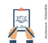 two businessman signs contract... | Shutterstock .eps vector #533664856