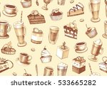 sketches of cupcakes  berry pie ... | Shutterstock . vector #533665282