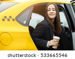 Small photo of Beautiful brunette sitting in cab