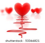 Red heart and cardiogram isolated on white - stock photo