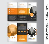 orange circle business trifold... | Shutterstock .eps vector #533672098